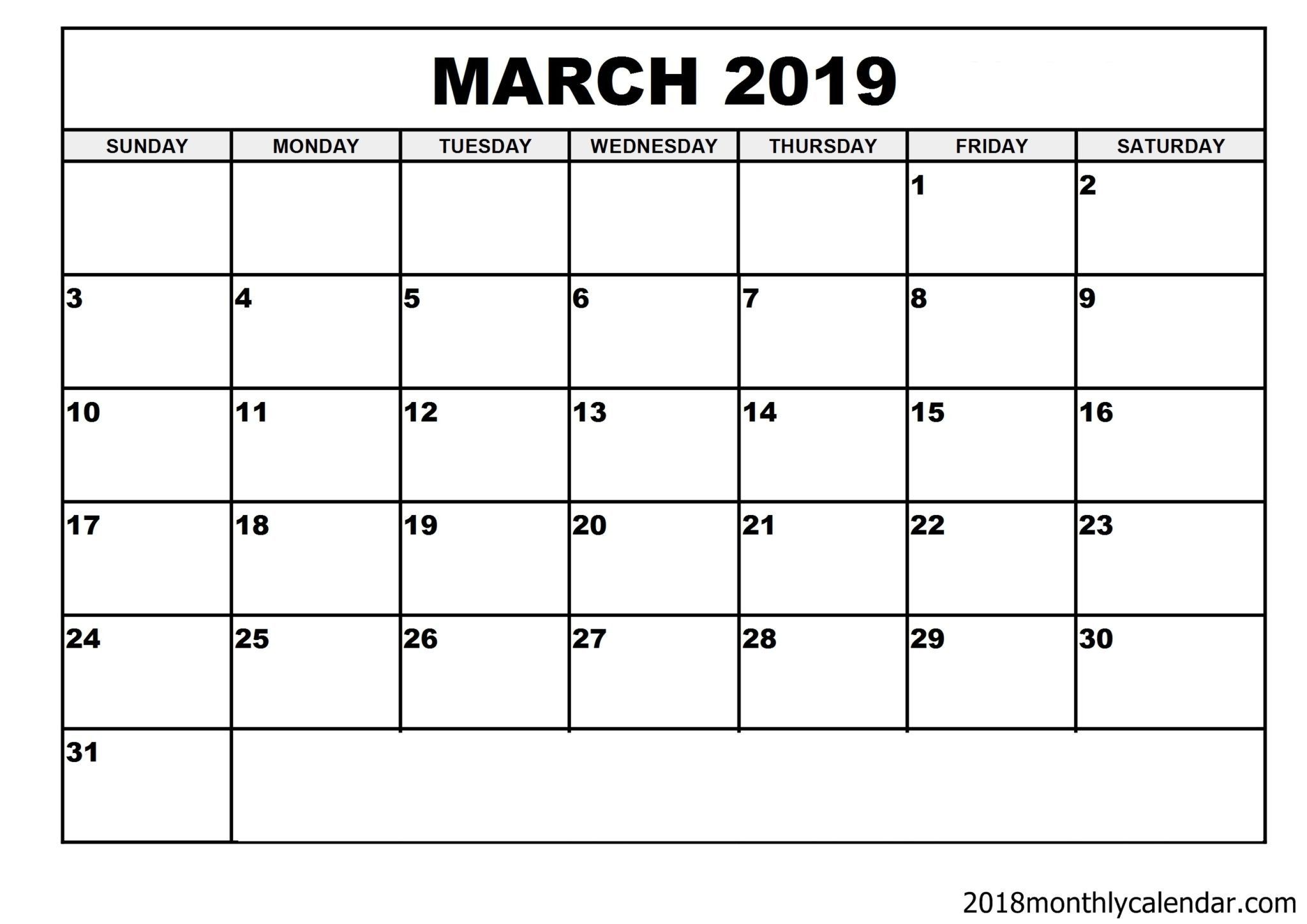 March 2019 Editable Calendar Template | Editable Calendar
