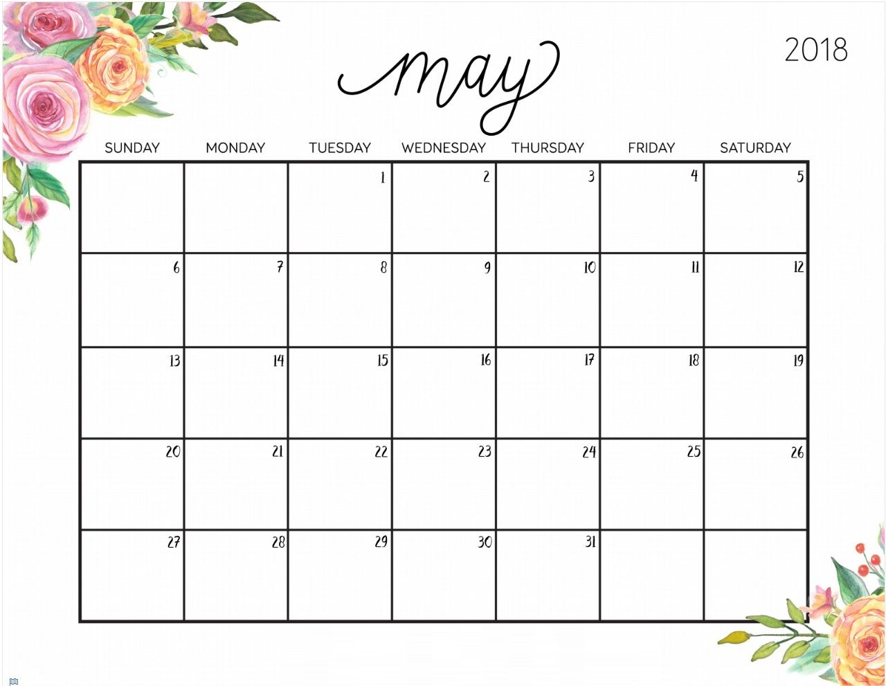May-2018-Floral-Calendar 1280×991픽셀 | Monthly