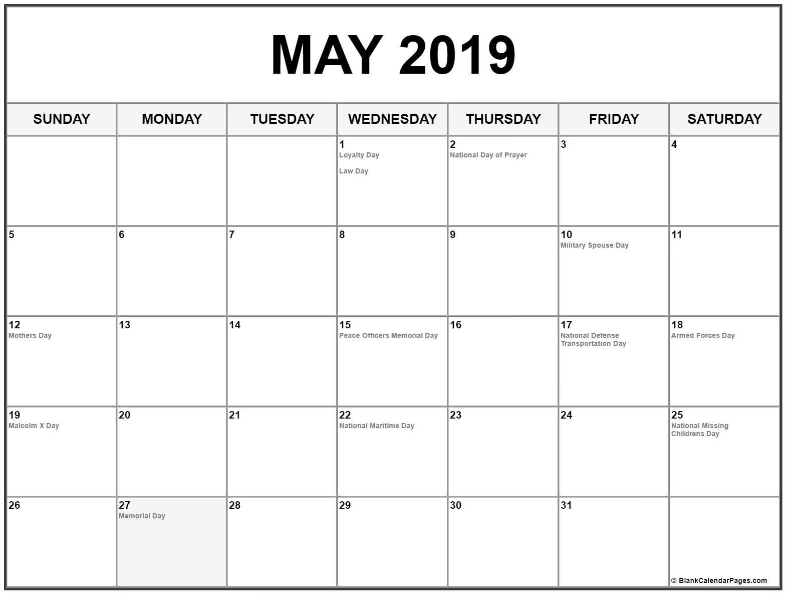 May 2019 Calendar Us Holidays | 2019 Calendar Monthly