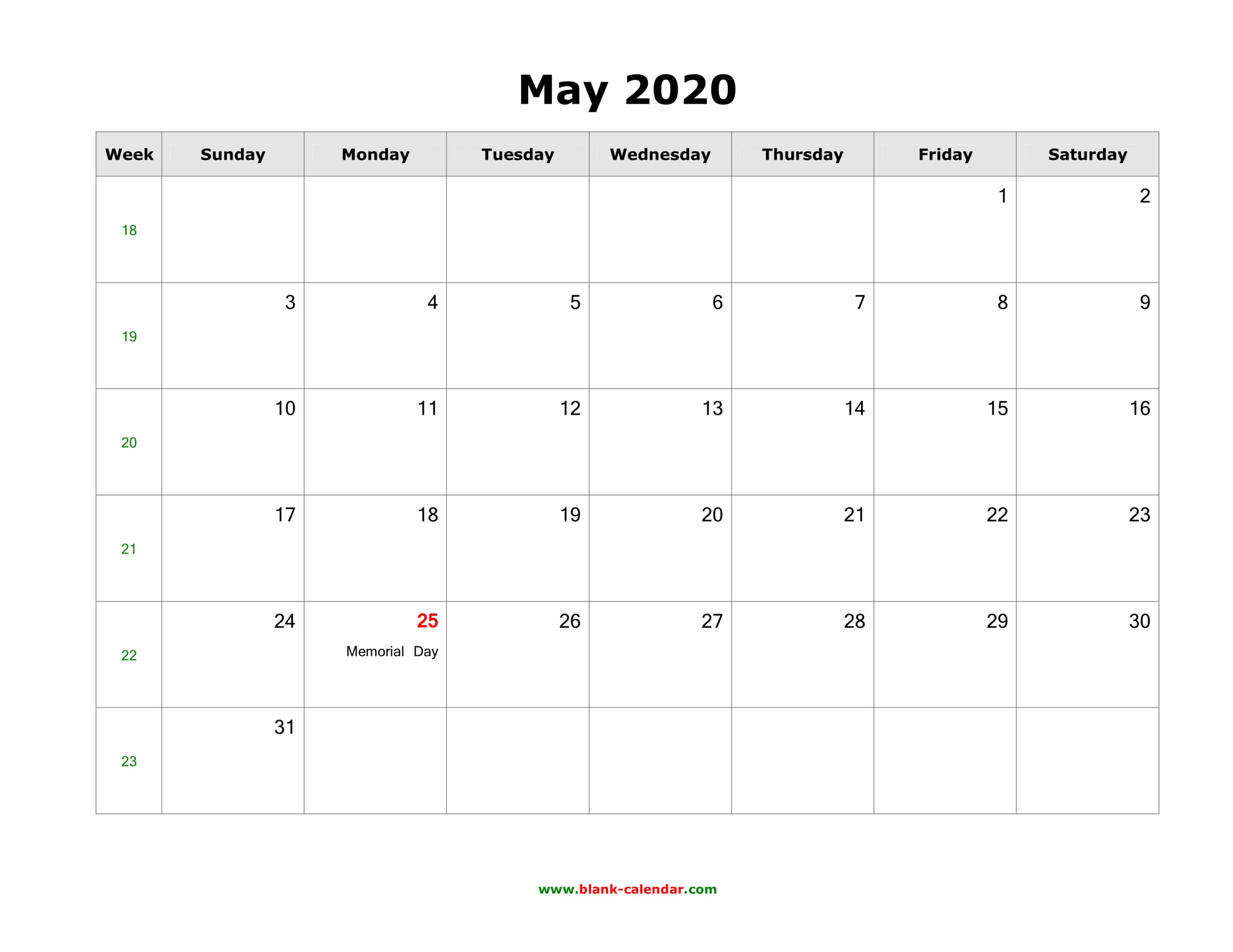 May 2020 Blank Calendar | Free Download Calendar Templates