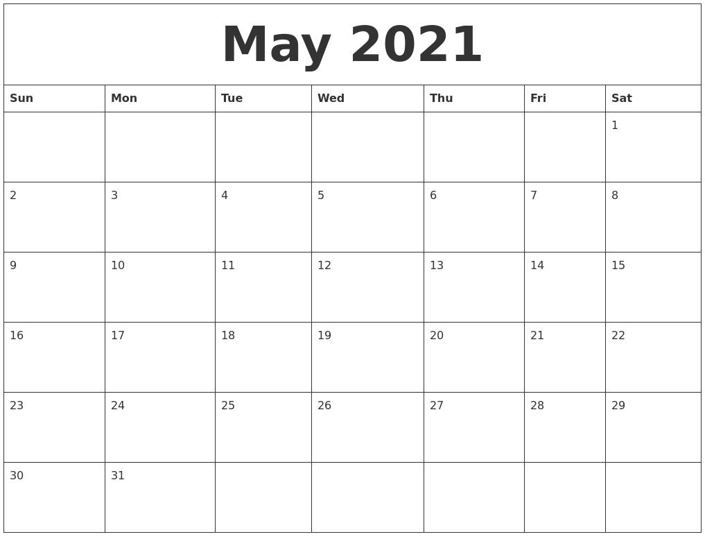 May 2021 Free Printable Calendar Templates