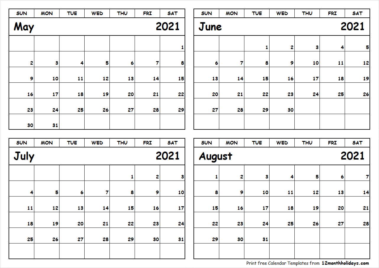 May-June-July-August-2021-Calendar-To-Print - All 12 Month