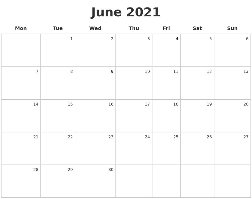 Monday To Sunday Calendar 2021 Full Months – Pleasant For