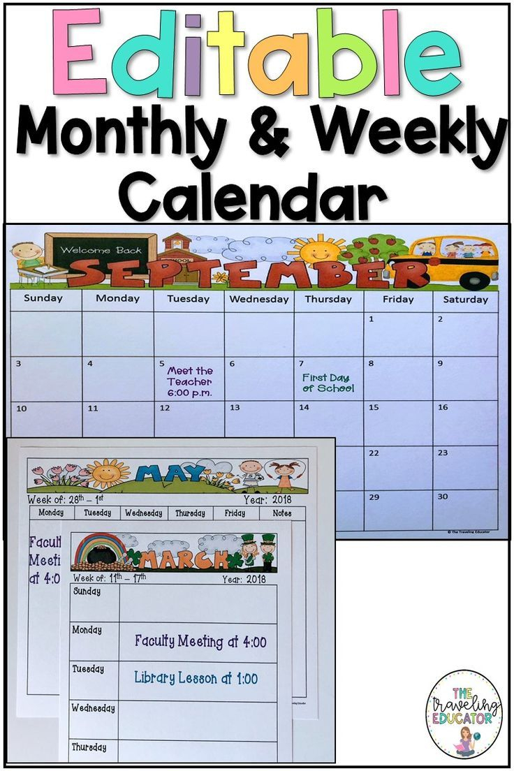 Monthly And Weekly Calendar Editable Template | Elementary