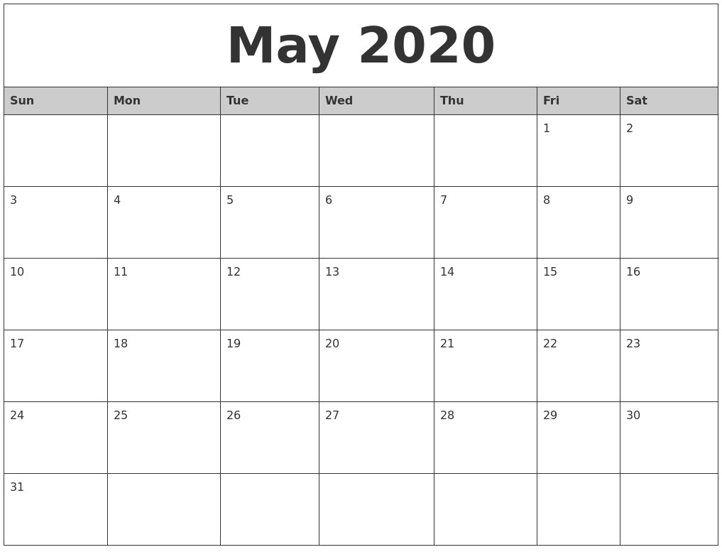 Monthly Calendar 2020 Printable | Free Printable Calendar