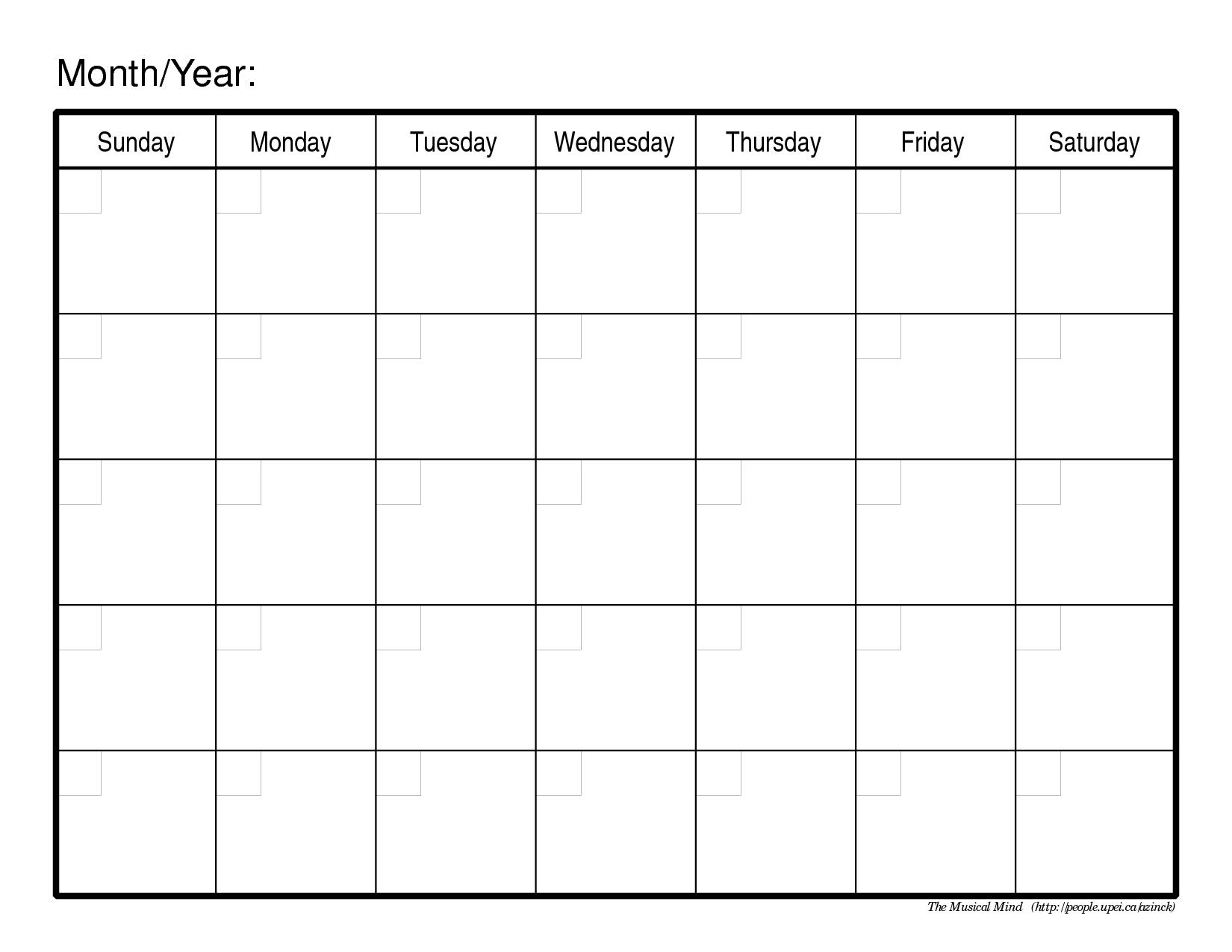Monthly Calendar Template   Weekly Calendar Template Free