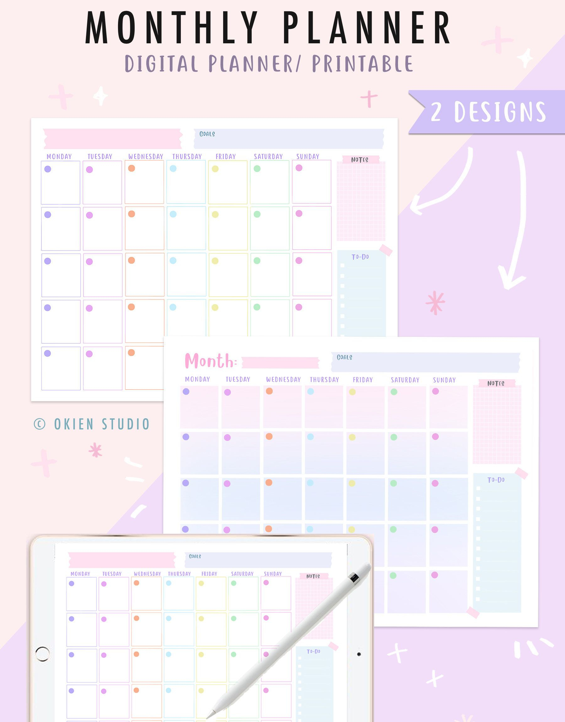 Monthly Planner Printable & Goodnotes Unicorn Color | Etsy