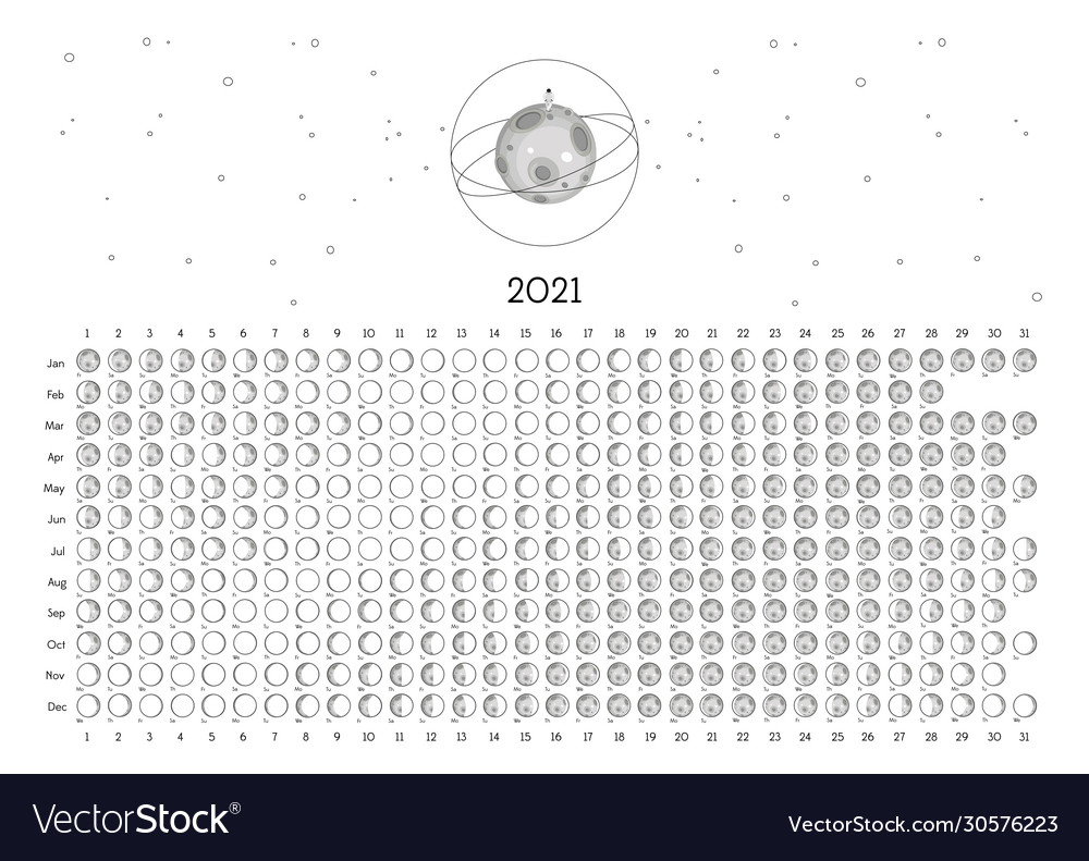 Moon Calendar 2021 Southern Hemisphere White Vector Image