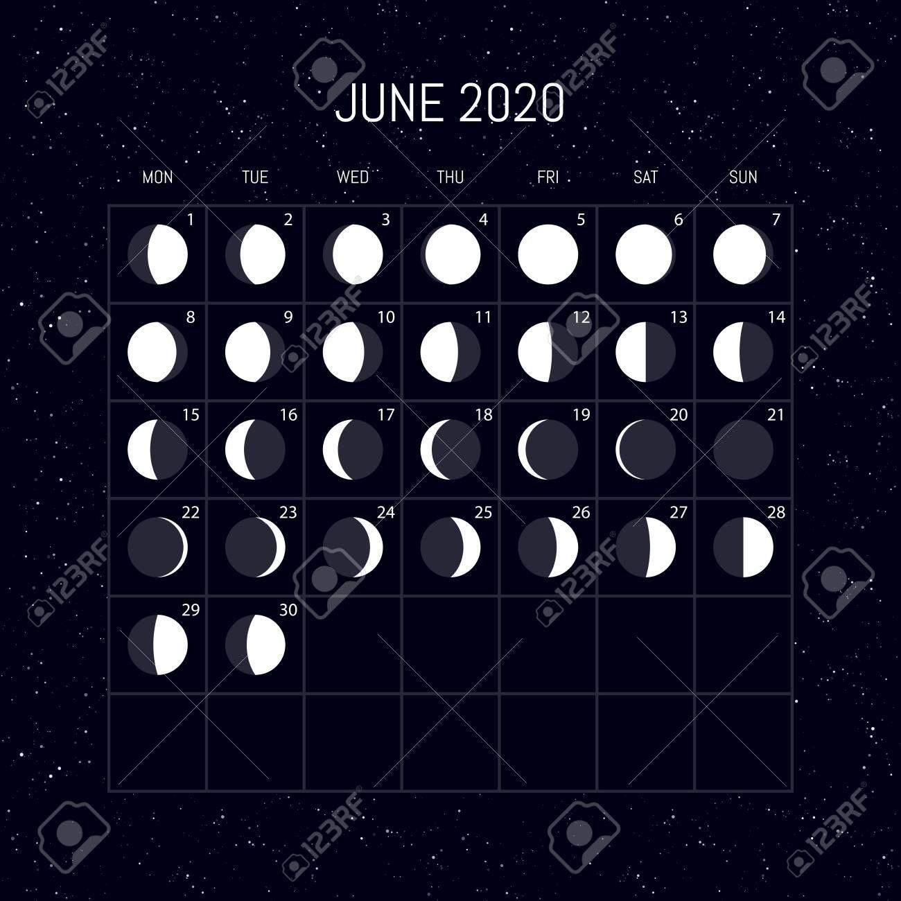 Moon Calendar June 2020 In 2020 | Moon Calendar Moon Phase