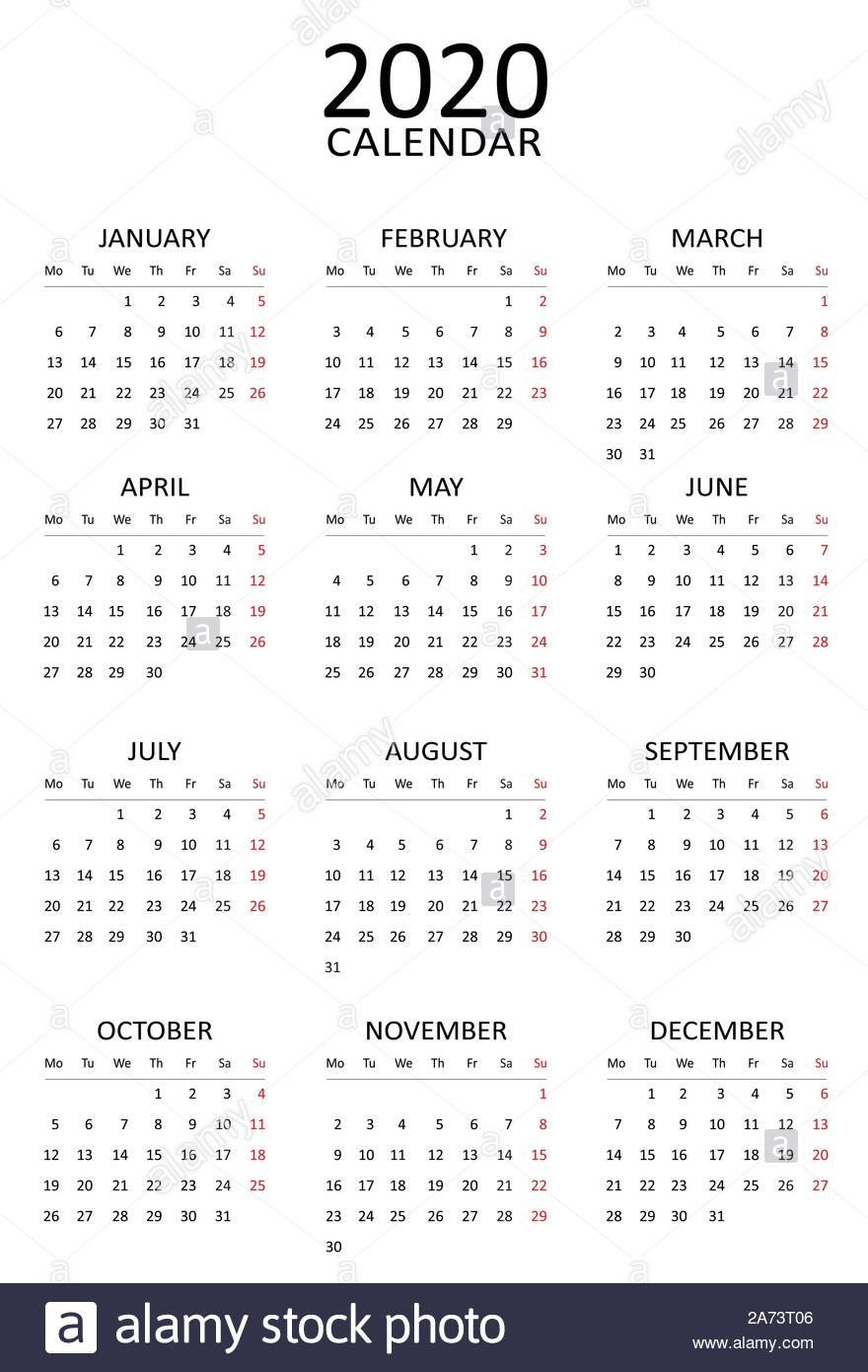 New Year 2020 Calendar. Start Monday. Simple And Clean