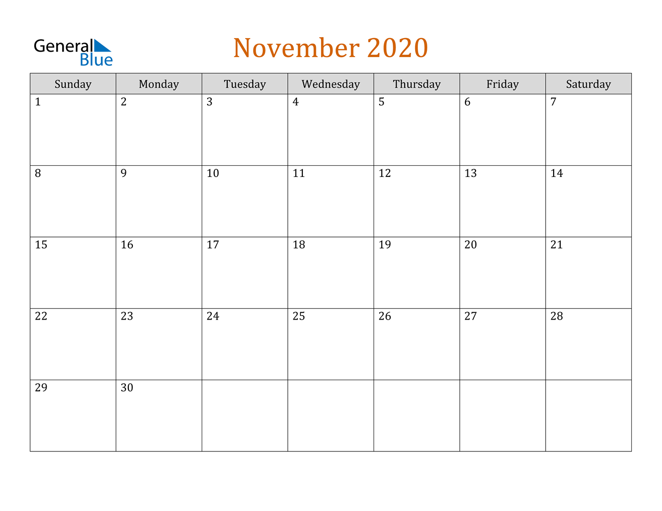 November 2020 Calendar - Pdf Word Excel