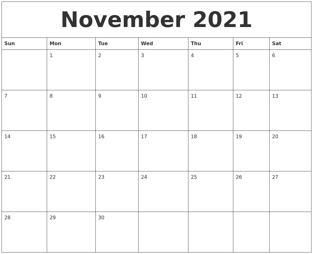 November 2021 Free Printable Calendar Templates