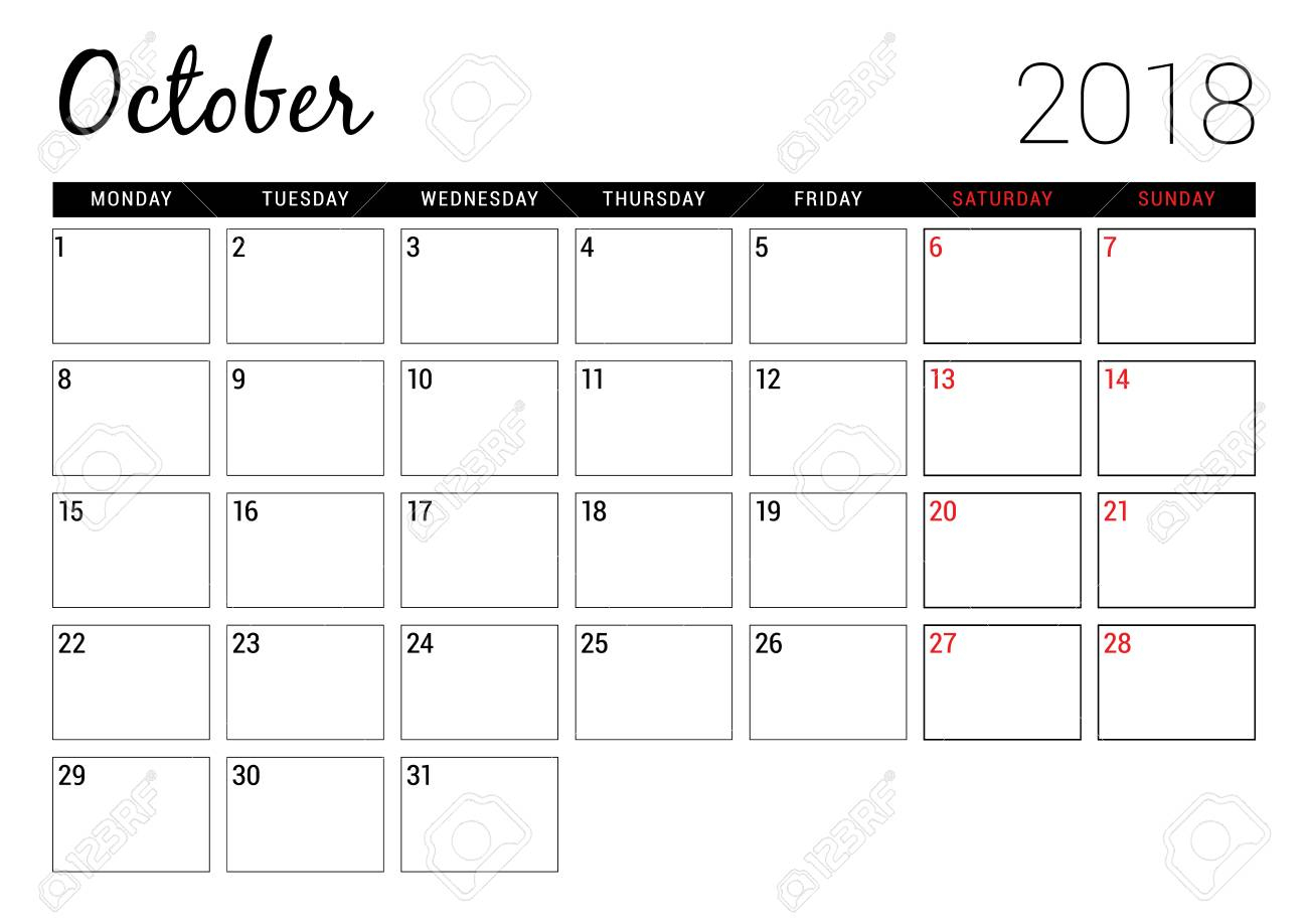 October 2018. Printable Calendar Planner Design Template. Week..