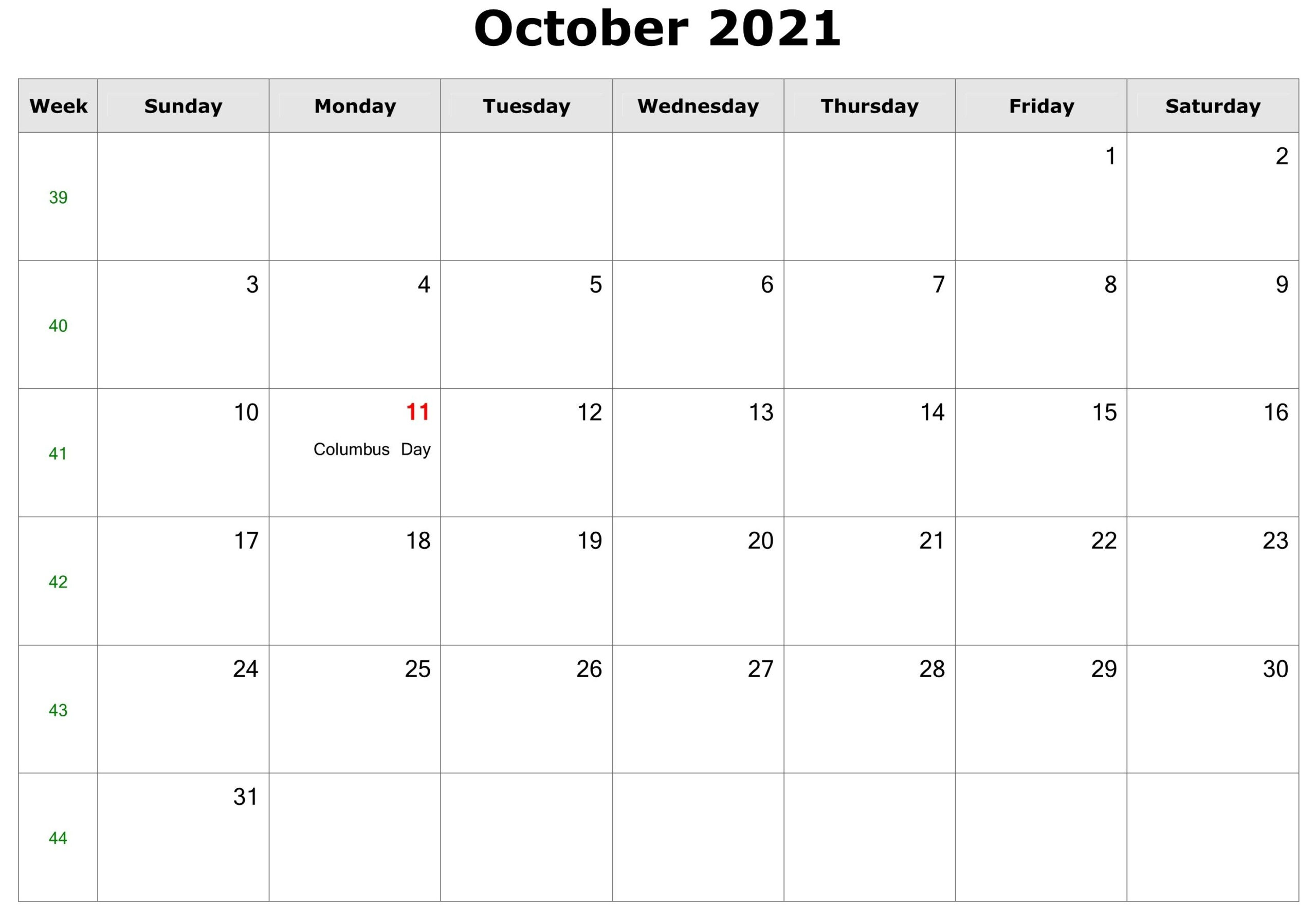 October 2021 Calendar | Free Printable Calendar Templates