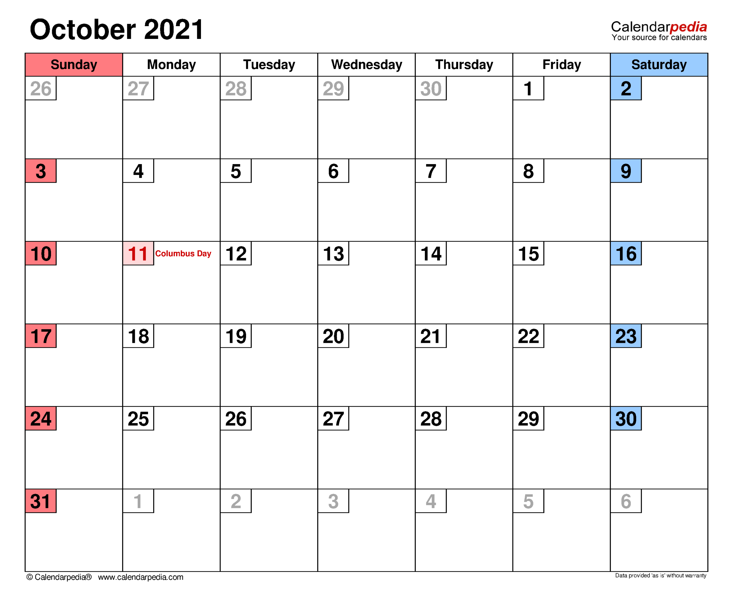 October 2021 Calendar | Templates For Word Excel And Pdf