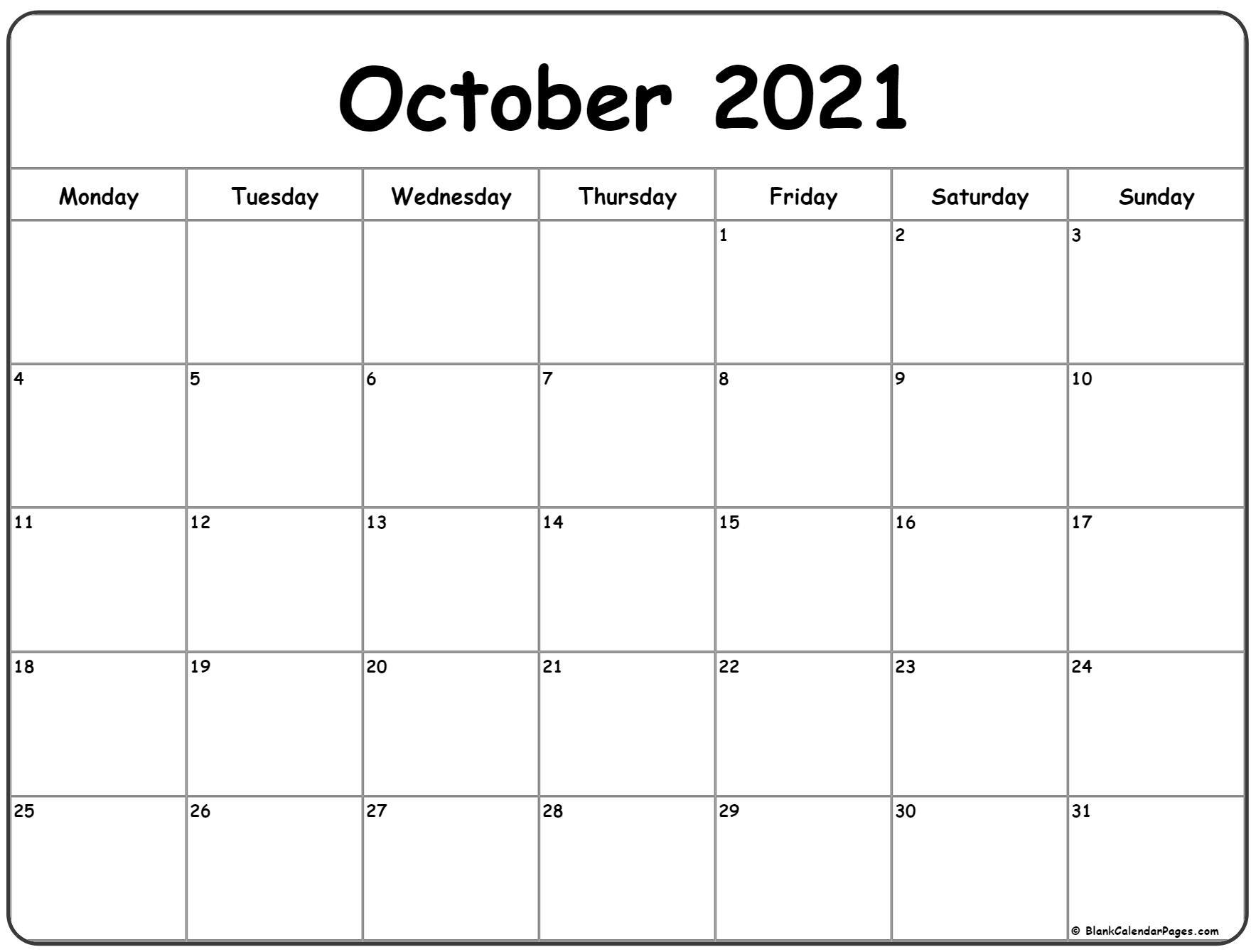 October 2021 Monday Calendar | Monday To Sunday