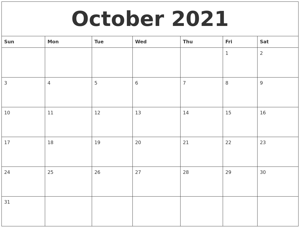 October 2021 Monthly Printable Calendar