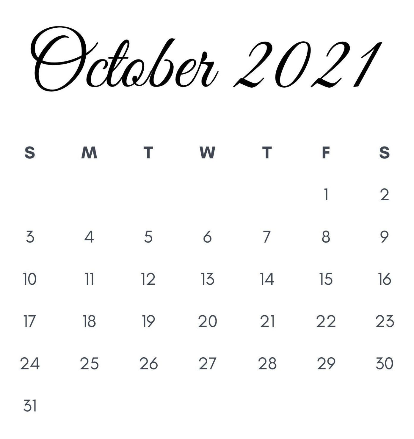 October 2021 Printable Calendar In 2020 | Monthly Calendar