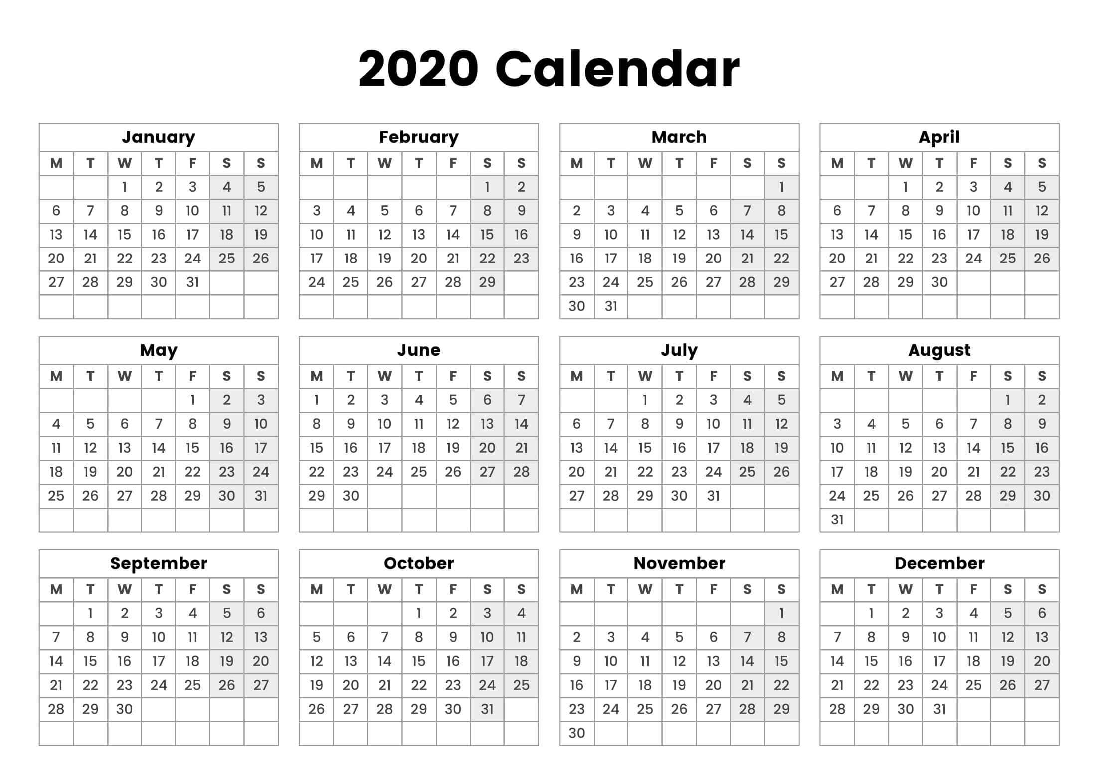 One Page Yearly Calendar 2020 Printable Cute - 2019