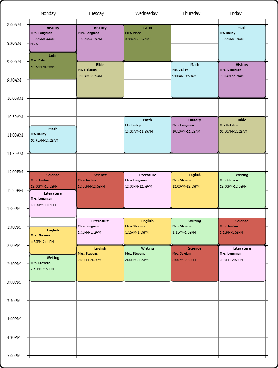 Online Weekly Class Scheduling Templatei Used The Free