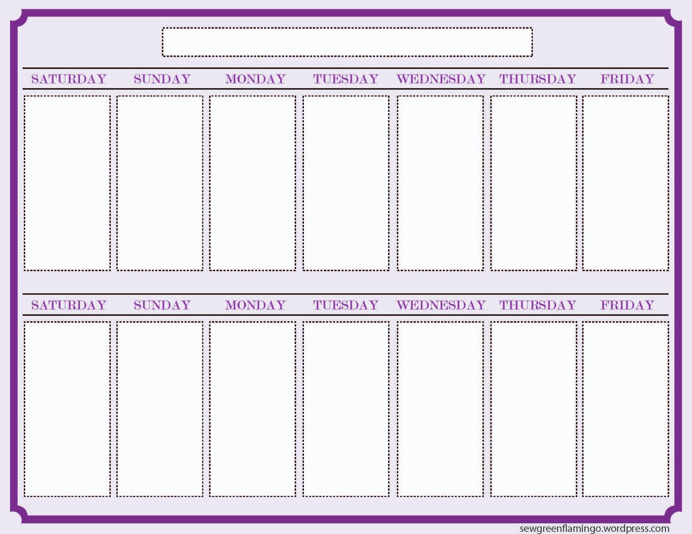 Printable 2 Week Calendar Two Week Calendar Template – Free
