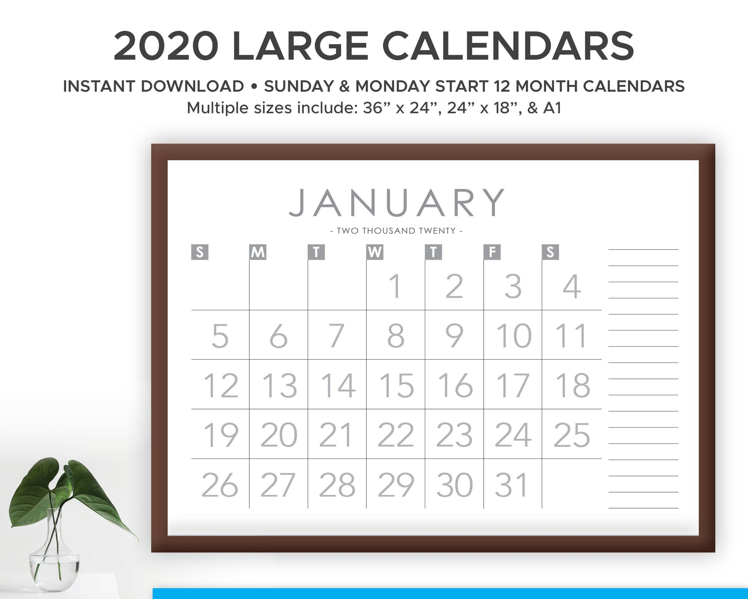 Printable 2020 And 2021 Large Print Modern Monthly Wall