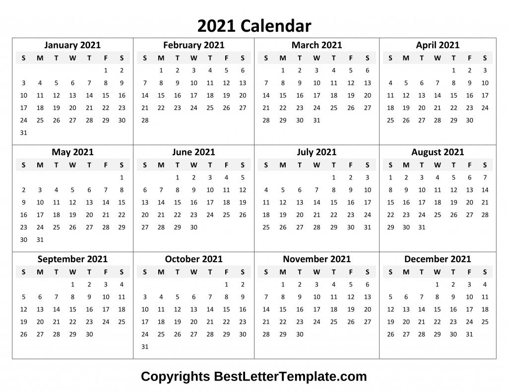 Printable 2021 Calendar Template In Pdf Word & Excel