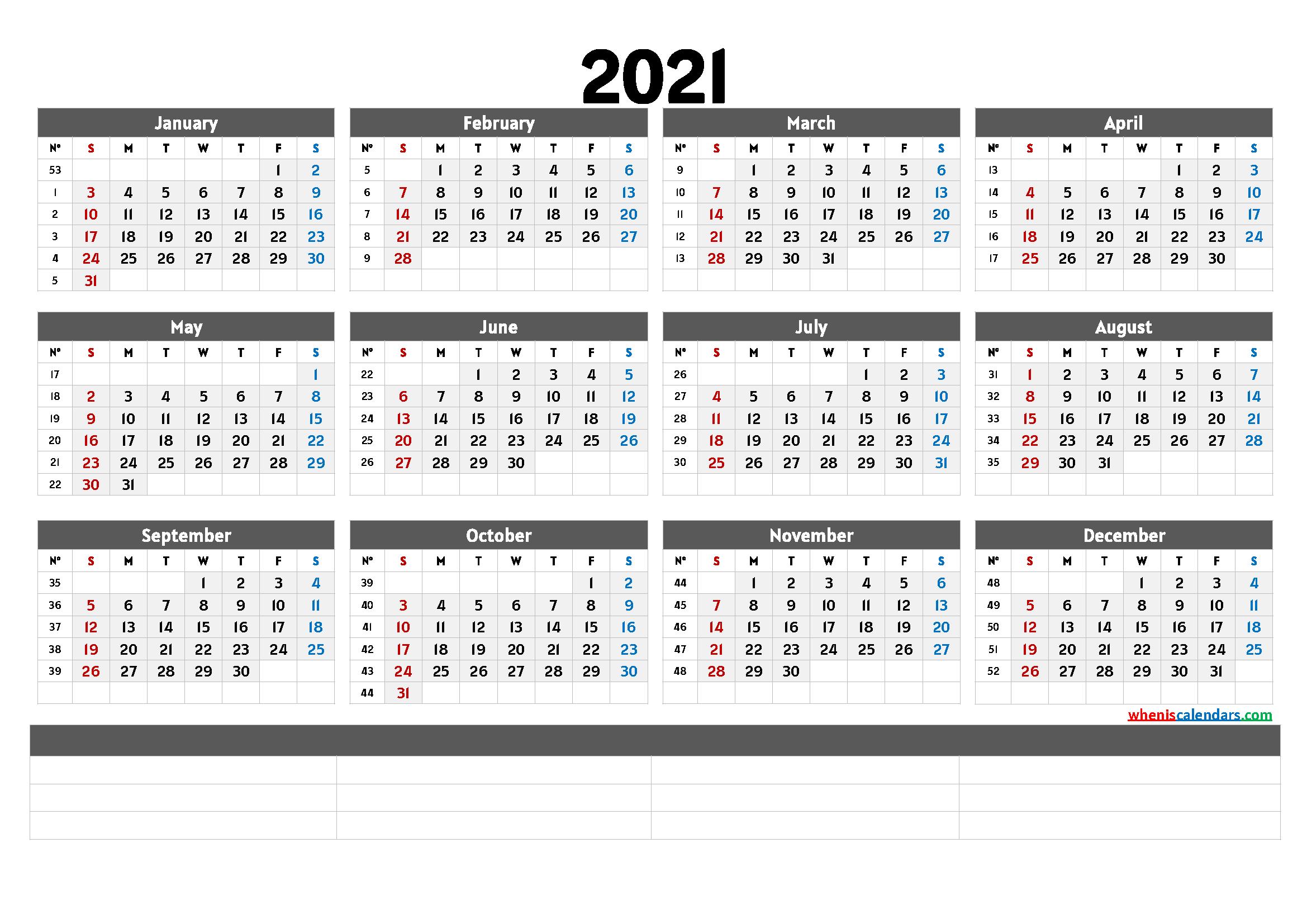 Printable 2021 Calendar Templates – Calendraex