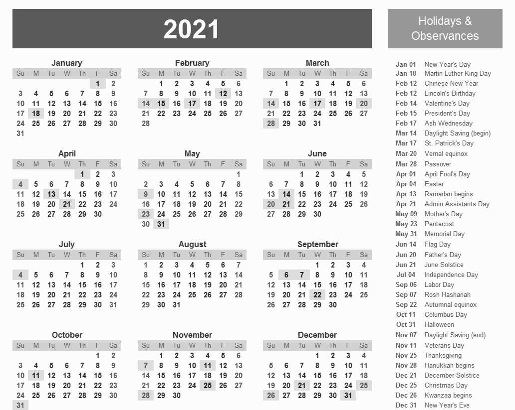 Printable 2021 Calendar With Holidays In 2020 | Calendar
