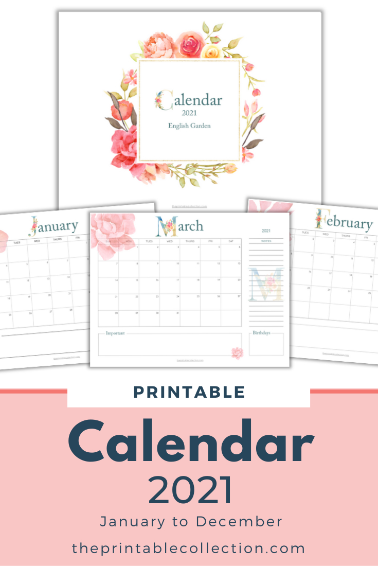 Printable 2021 Monthly Calendar With Monogram Letters In