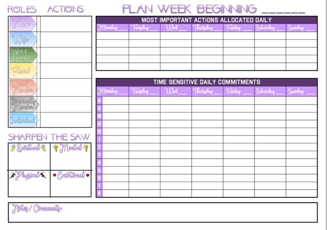 7 Habits Daily Calendar Template
