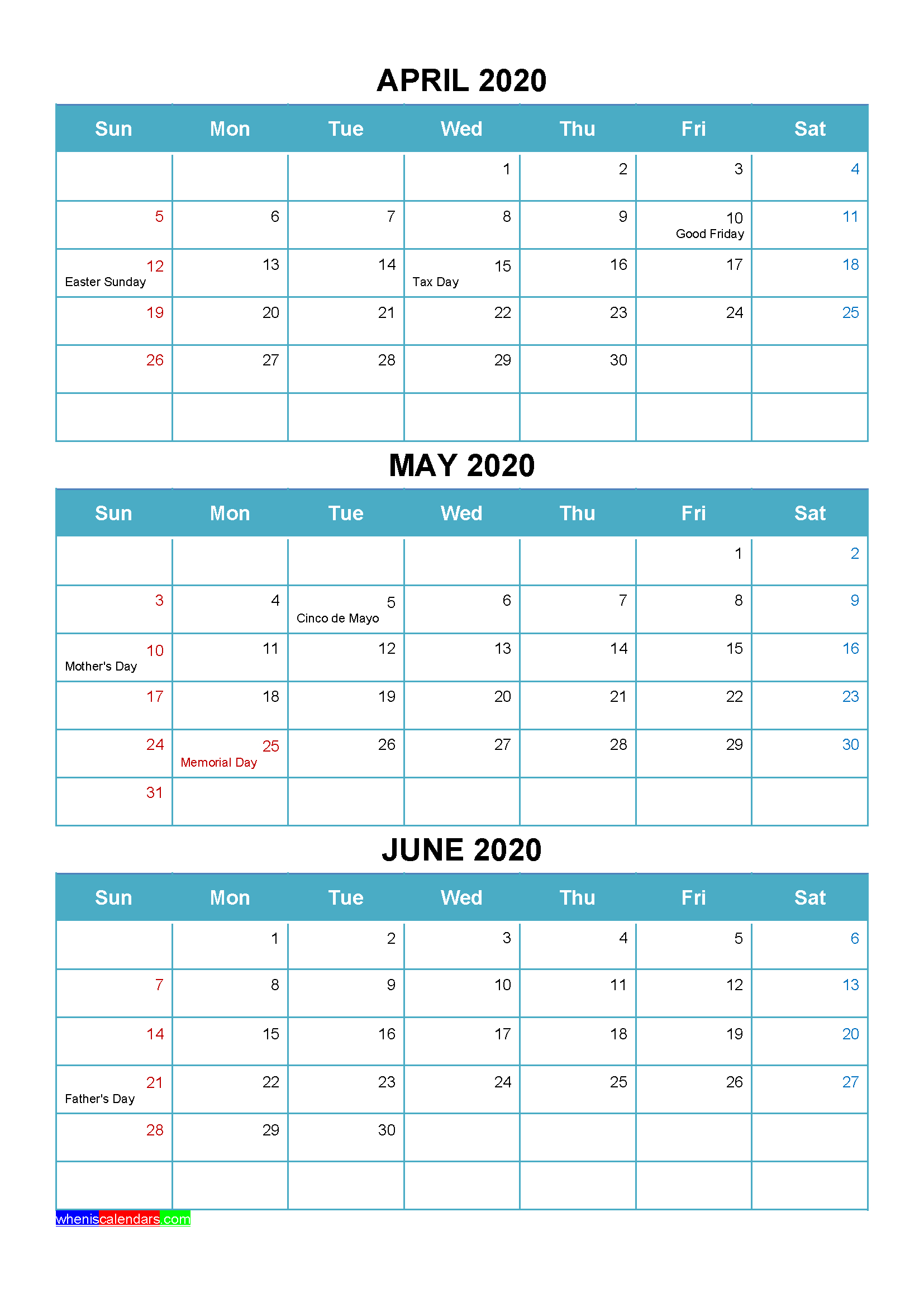 Printable April May June 2020 Calendar Word Pdf – Free 2020