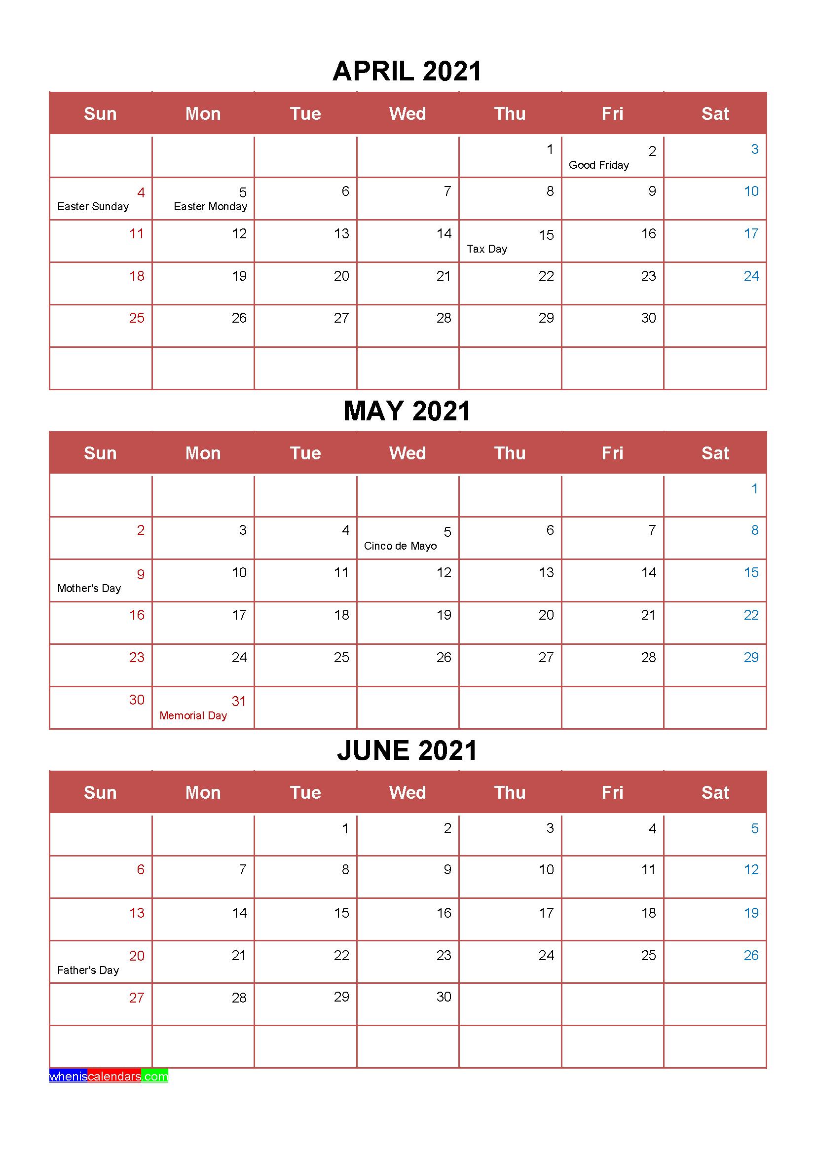 Printable April May June 2021 Calendar Template Word Pdf