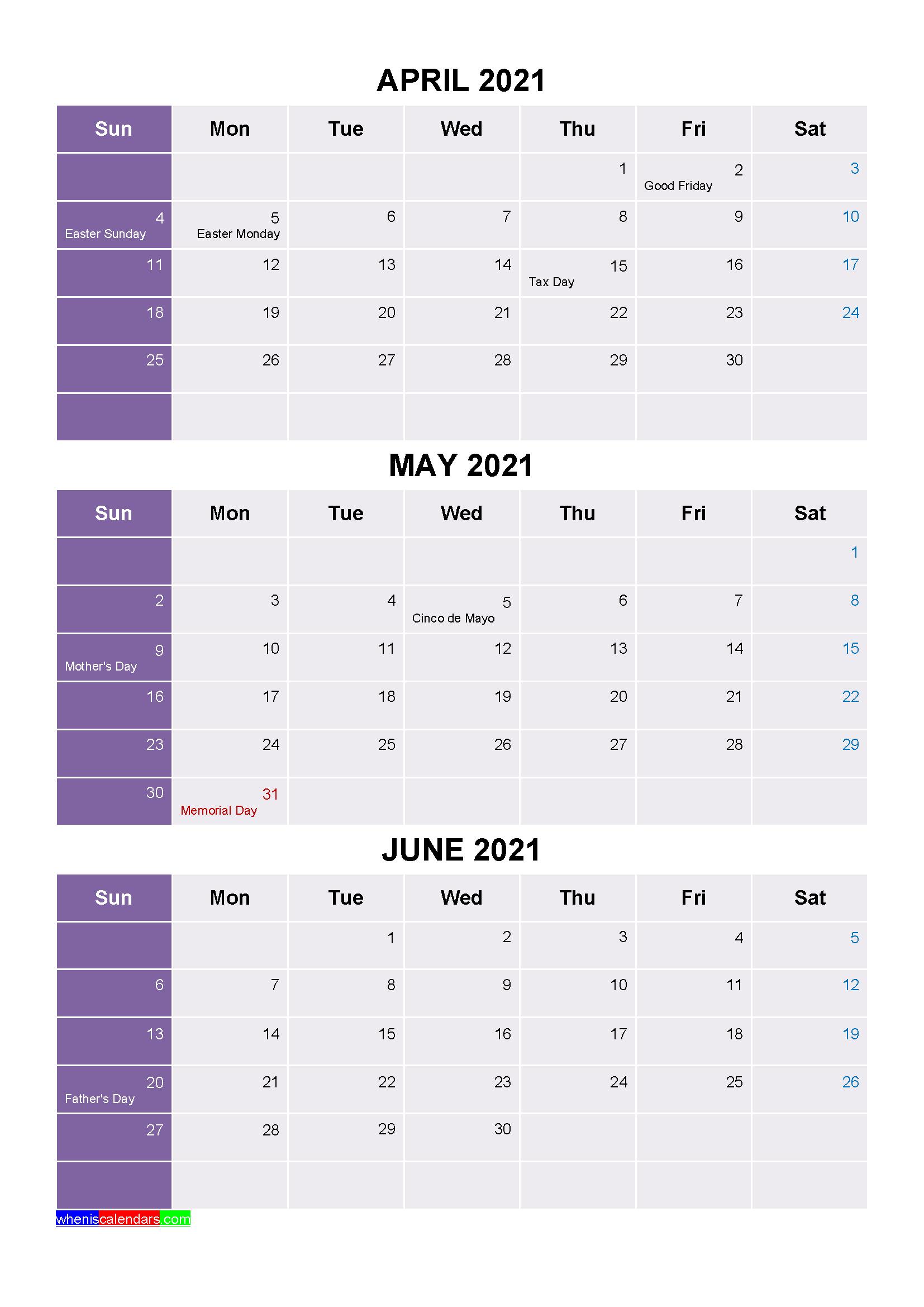 Printable April May June 2021 Calendar Word Pdf - Free