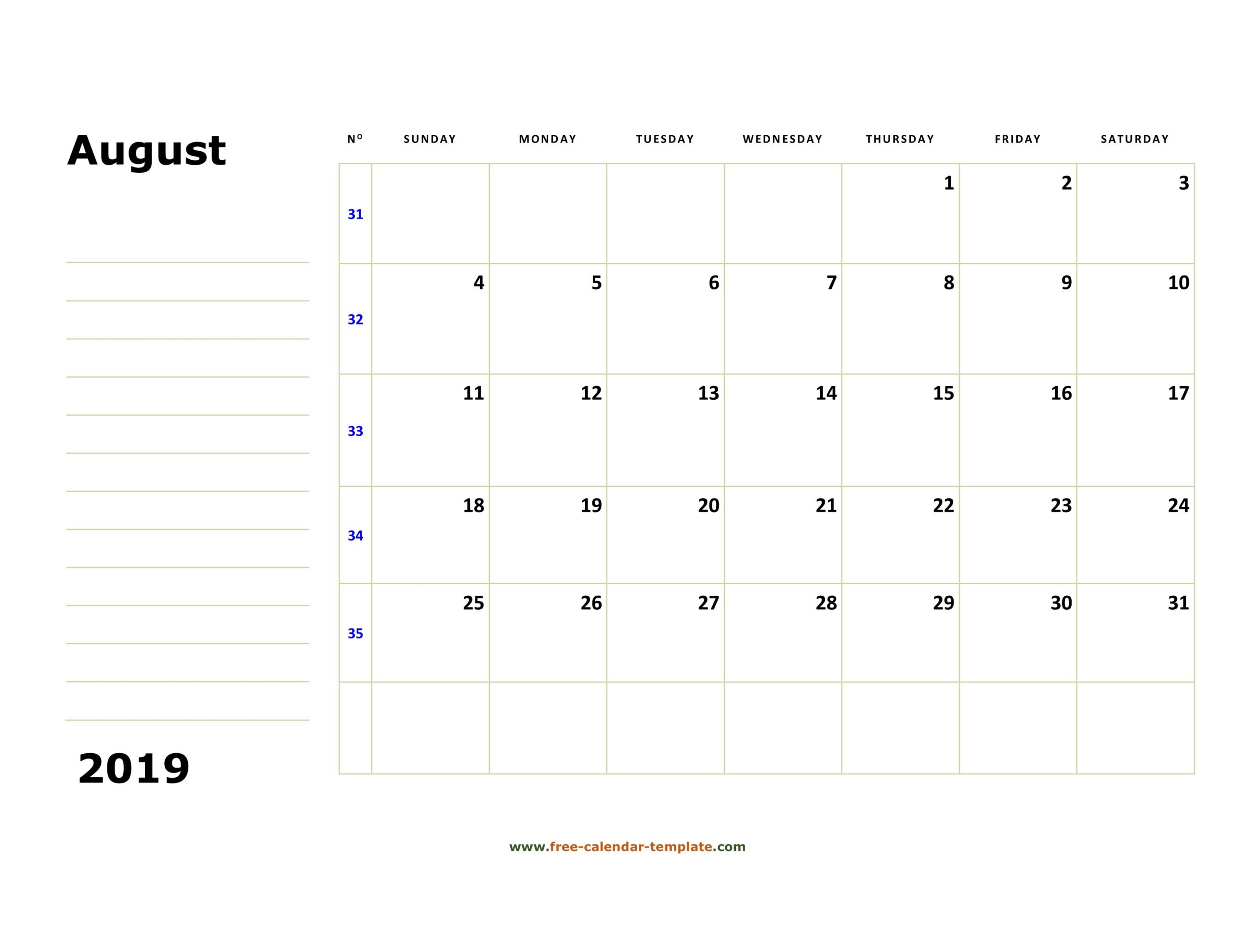 Printable August 2019 Calendar (Box And Lines For Notes