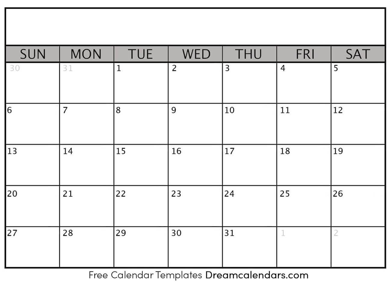 Printable Blank Calendar 2021 | Dream Calendars