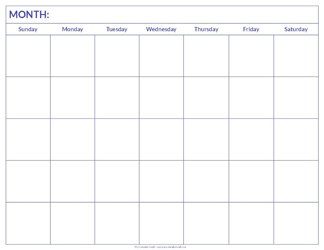 Printable Blank Calendar | Blank Calendar Pages Printable