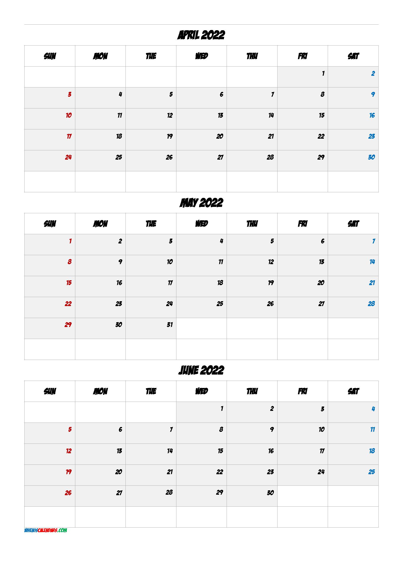 Printable Calendar April May June 2022 [Q1-Q2-Q3-Q4] In 2020