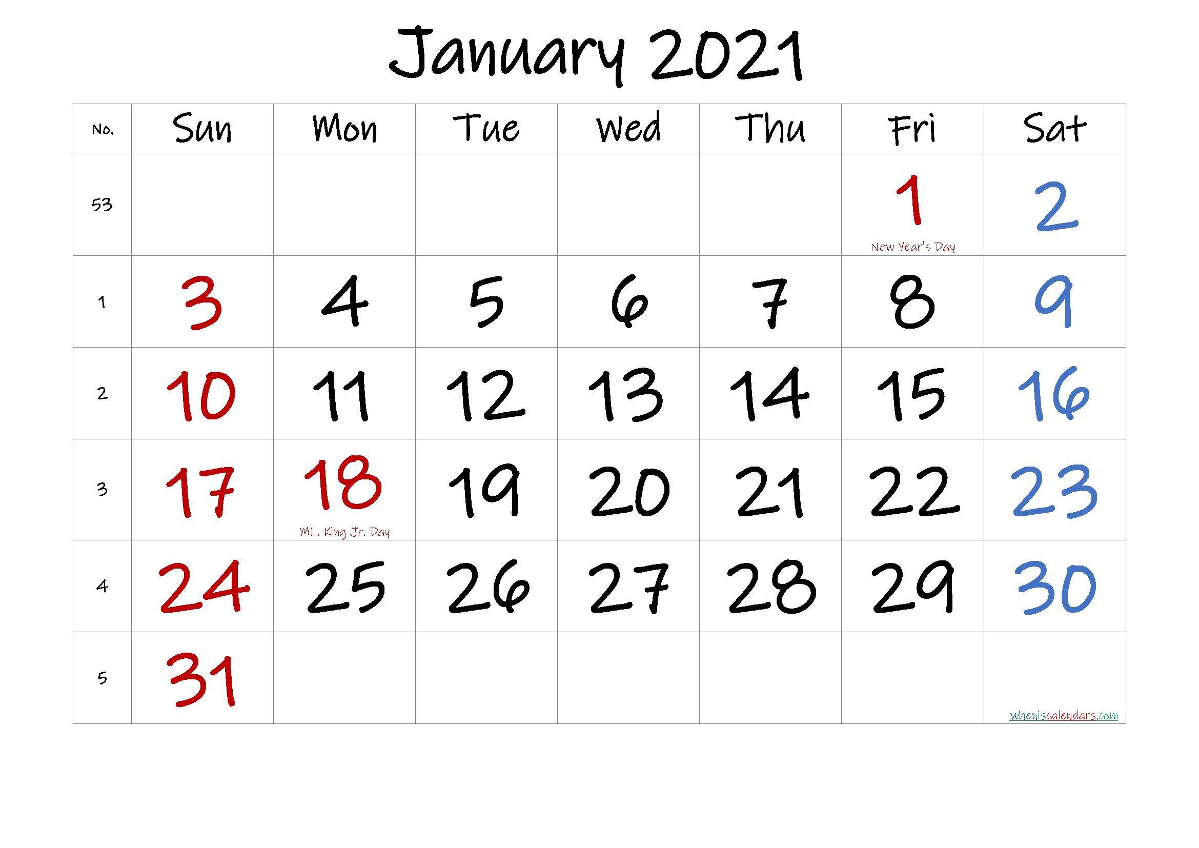 Printable Calendar January 2021 In 2020 | Printable Calendar