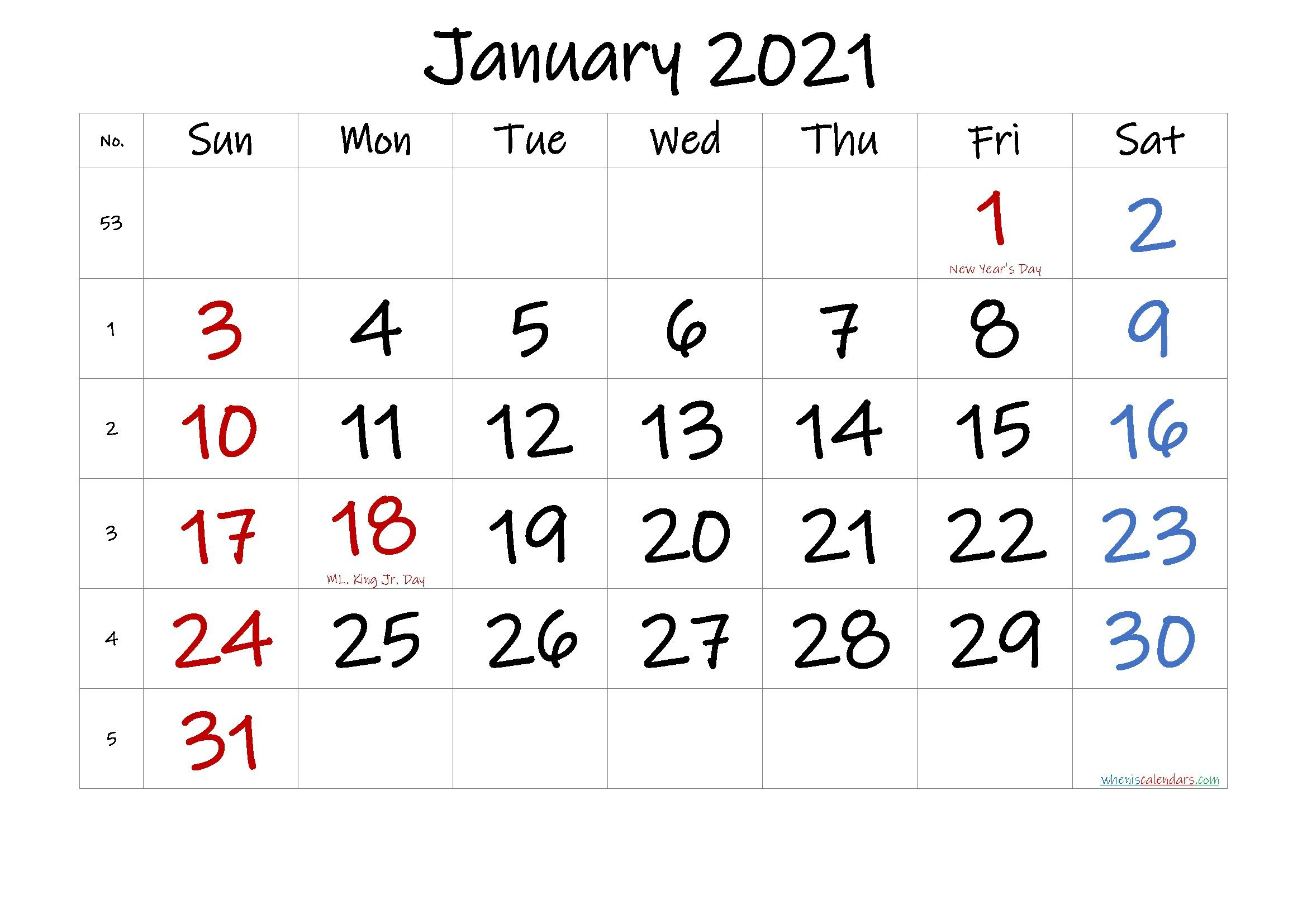 Printable Calendar January 2021 In 2020 | Printable Calendar