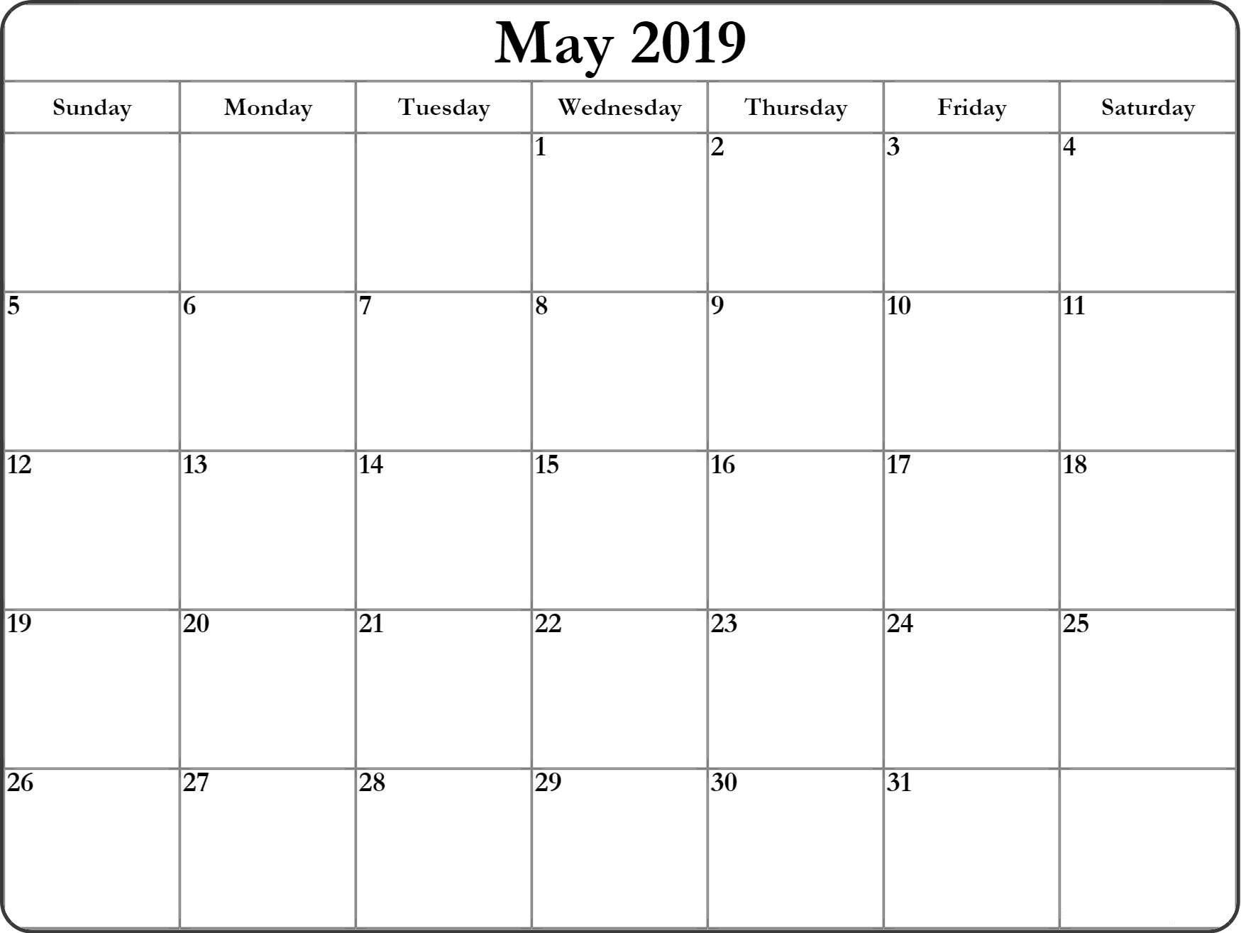 Printable Calendar May 2019 | Printable Blank Calendar