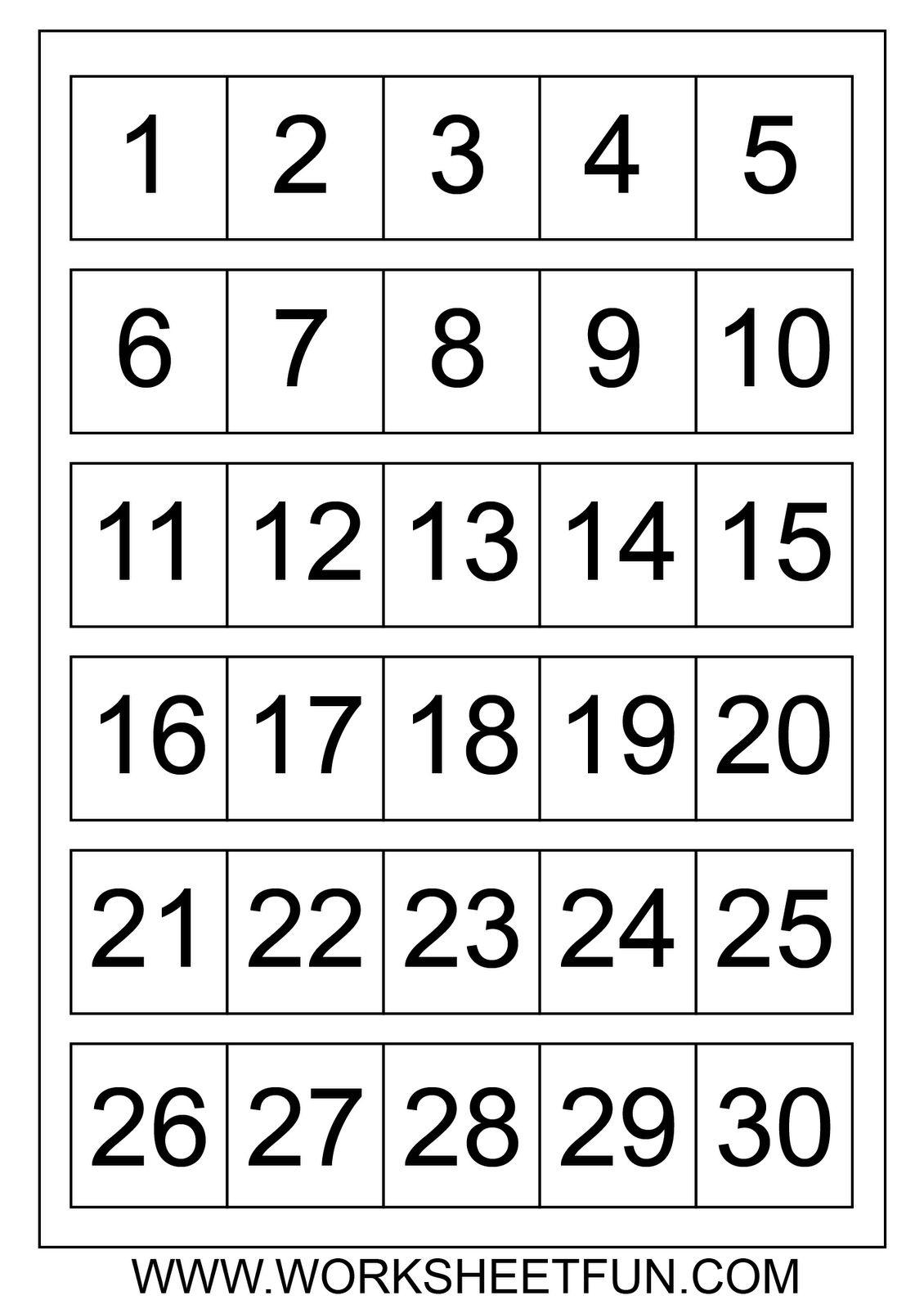 Printable Calendar Numbers 1 31 Free Calendar Printable
