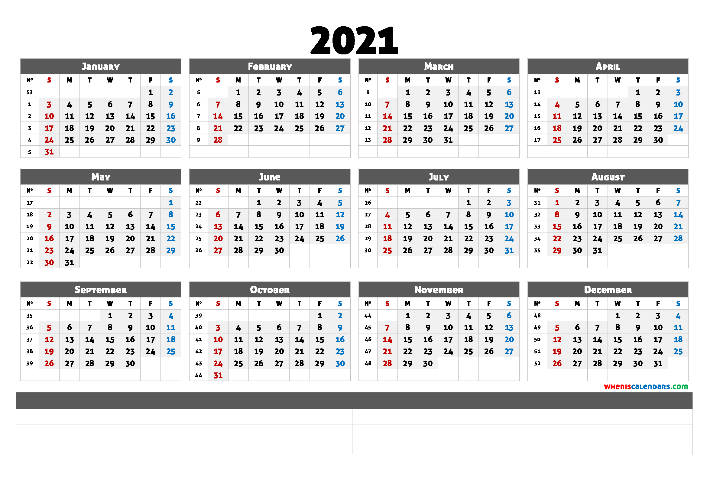 Printable Calendar Templates 2021 (6 Templates) – Free