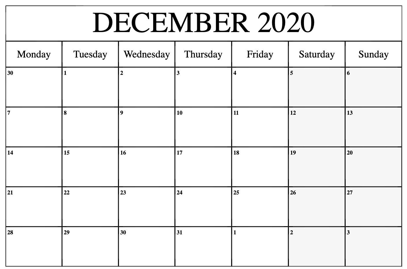 Printable December 2020 To March 2021 Calendar In 2020