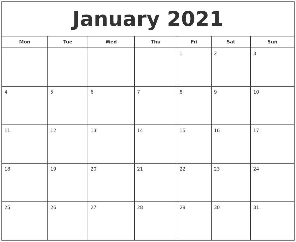 Printable January 2021 Calendar Pdf In 2020 | Print Calendar