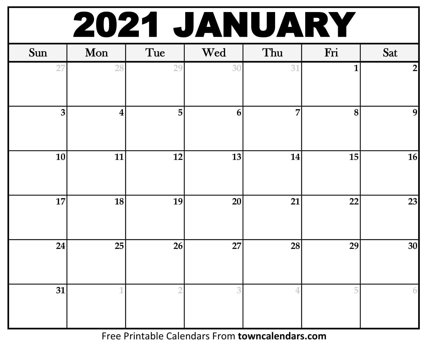 Printable January 2021 Calendar - Towncalendars