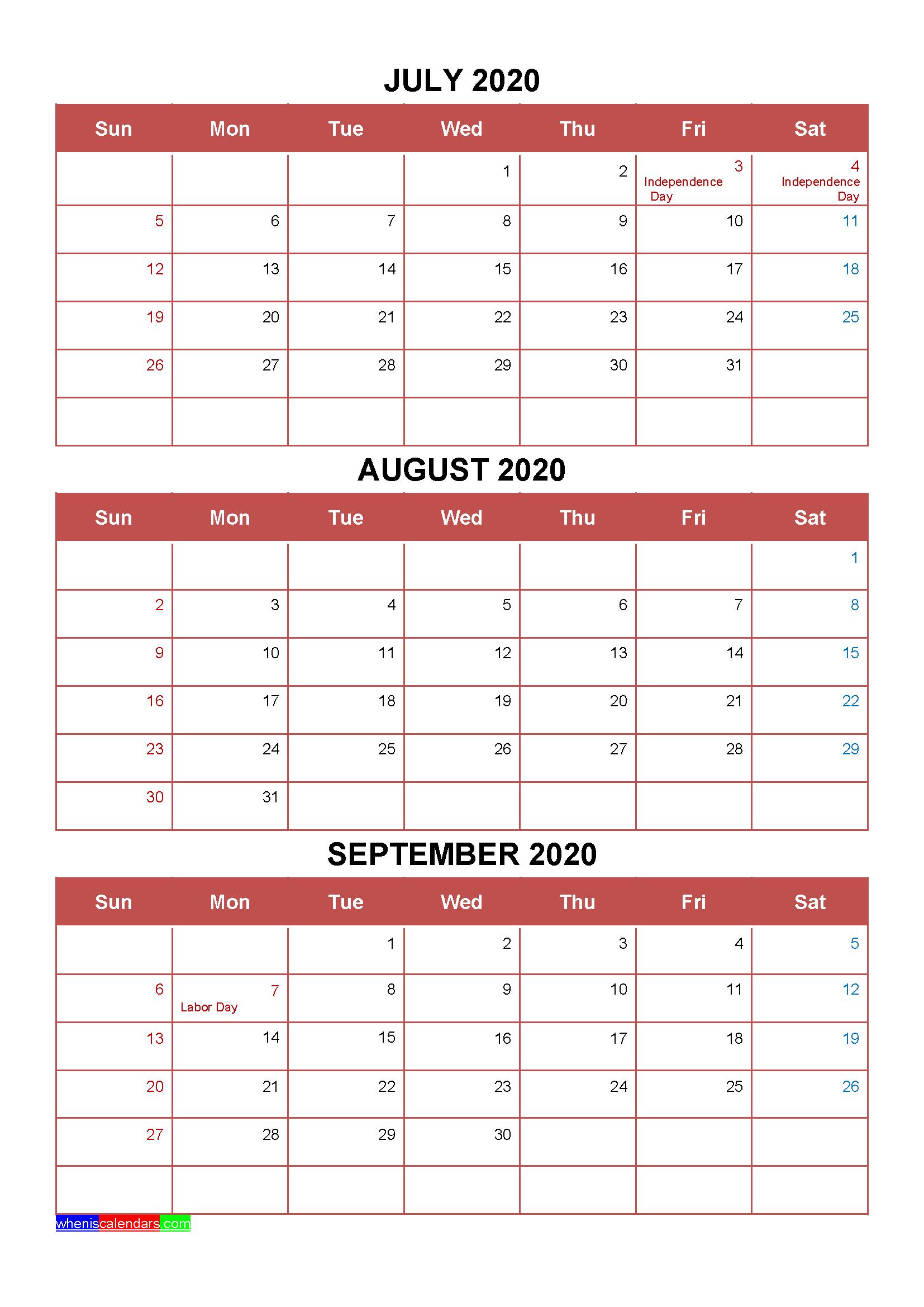 Printable July August September 2020 Calendar Template Word