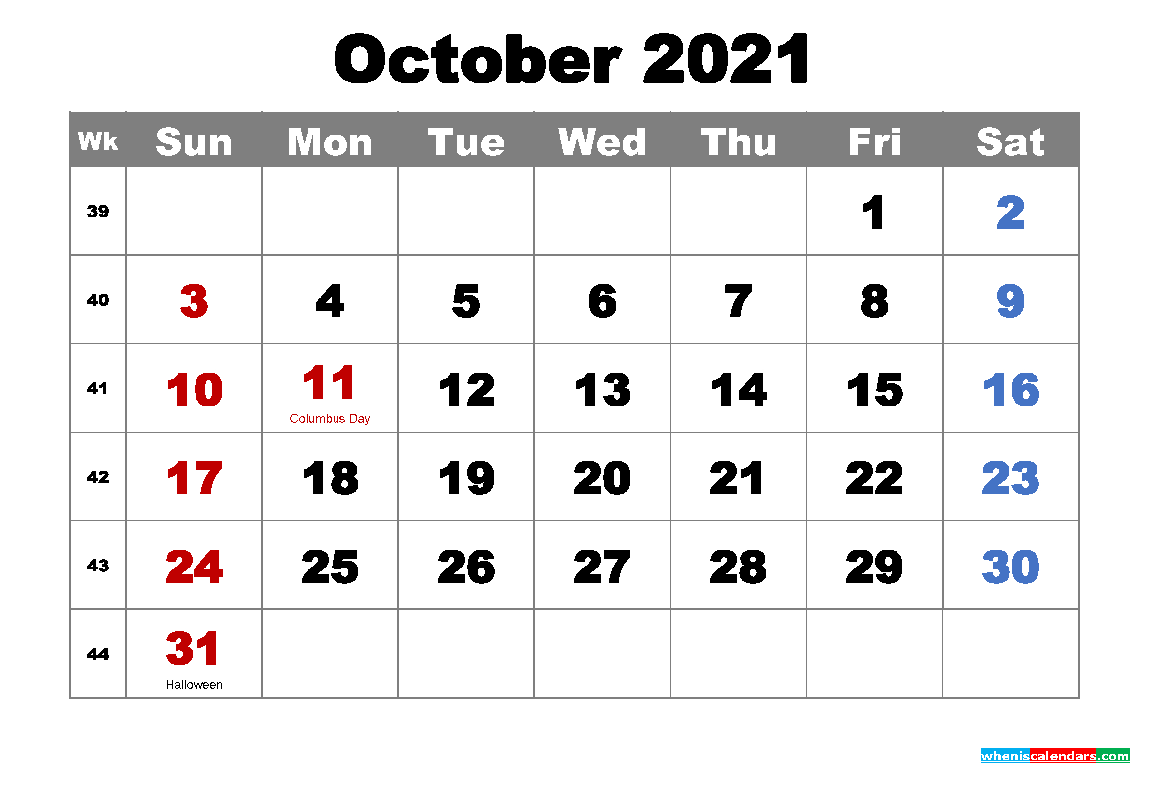Printable October 2021 Calendarmonth – Free Printable
