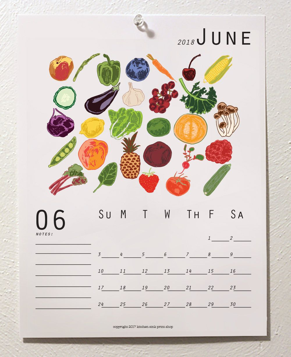 Printable Wall Calendar 2021 Seasonal Produce Food Art