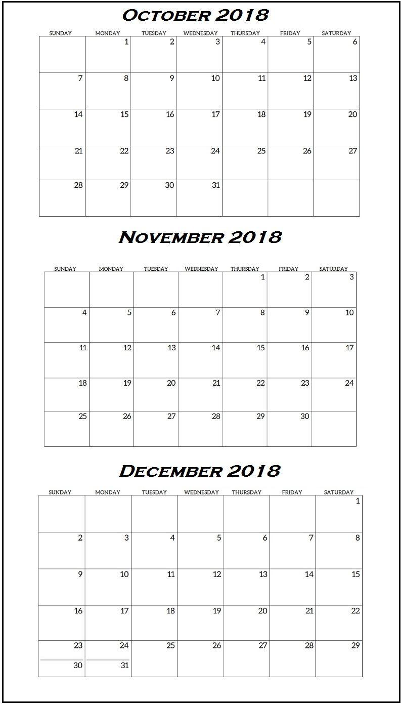 Quarterly Calendar October To December 2018 | Free Calendars